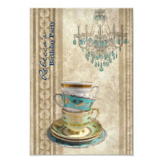 elegant tea cup chandelier vintage birthday party card
