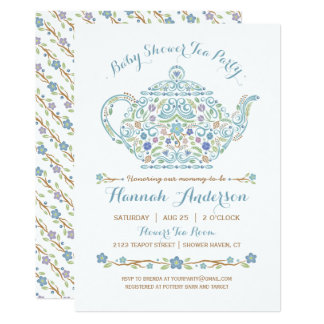 Elegant Tea Party Boy Baby Shower U2022 Teapot Card
