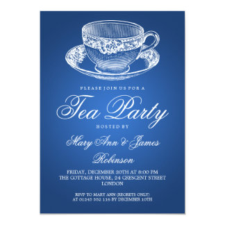 Elegant Tea Party Vintage Tea Cup Blue 13 Cm X 18 Cm Invitation Card