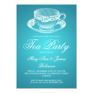 Elegant Tea Party Vintage Tea Cup Turquoise 13 Cm X 18 Cm Invitation Card