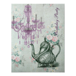 elegant tea pot  vintage floral birthday party 11 cm x 14 cm invitation card