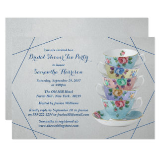 Elegant Teacups Bridal Shower Card