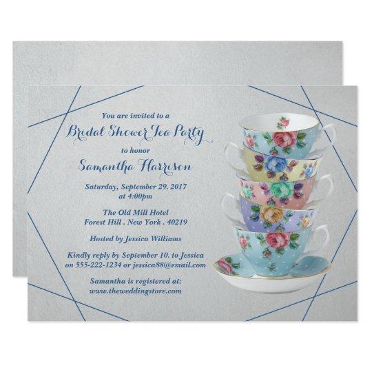Elegant Teacups Bridal Shower Card