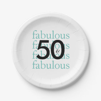Elegant Teal 50th Birthday Party Paper Plates