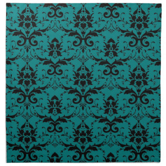 Elegant Teal and Black Damask Pattern Napkin