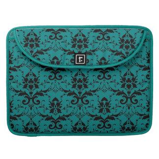 Elegant Teal and Black Damask Pattern Sleeve For MacBooks