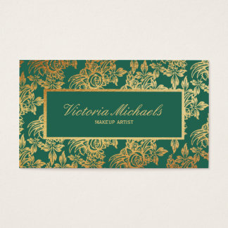 Elegant Teal and Gold Floral Business Card