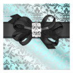 Elegant Teal and Silver Invitation with Bow