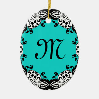 Elegant Teal Black & White Design with Monogram Christmas Ornament