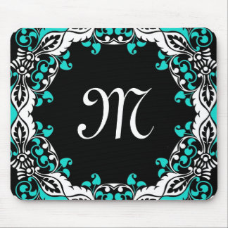 Elegant Teal Black & White Design with Monogram Mouse Pad