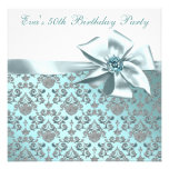 Elegant Teal Blue 50th Birthday Party Announcements