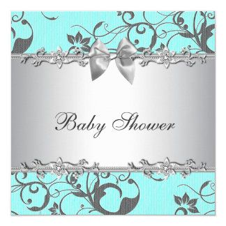 "Elegant Teal Blue and Gray Baby Shower 5.25"" Square Invitation Card"
