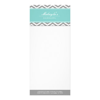 Elegant Teal Blue and Gray Chevron Price List Rack Card