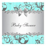 Elegant Teal Blue and Grey Baby Shower Personalised Invitation