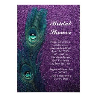 Elegant Teal Blue and Purple Peacock Bridal Shower 13 Cm X 18 Cm Invitation Card