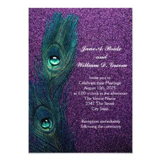 "Elegant Teal Blue and Purple Peacock Wedding 5"" X 7"" Invitation Card"