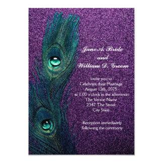 "Elegant Teal Blue and Purple Peacock Wedding 4.5"" X 6.25"" Invitation Card"