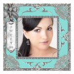 Elegant Teal Blue and Silver Photo Sweet 16 Party