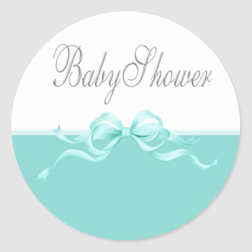 Elegant Teal Blue Baby Shower Stickers