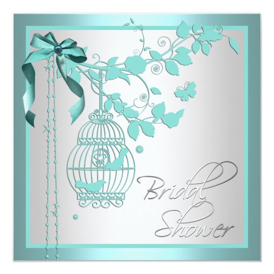 Elegant Teal Blue Birdcage Bridal Shower Card