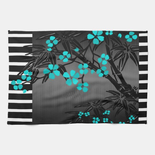 Elegant Teal Blue Blossom Black Asian Bamboo Hand