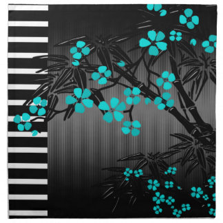 Elegant Teal Blue Blossom Black Asian Bamboo Napkin