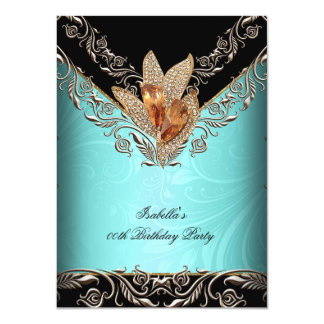 "Elegant Teal Blue Caramel Gold Birthday Party 4.5"" X 6.25"" Invitation Card"
