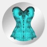 Elegant Teal Blue Corset Stickers