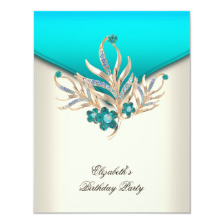 Elegant Teal Blue Cream White Jewel Birthday Party Card