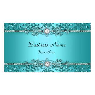 Elegant Teal Blue Damask Embossed Look Business Card Template