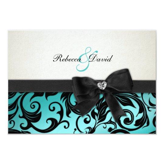 Elegant Teal Blue Damask with diamond RSVP Card