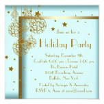 Elegant Teal Blue Gold Christmas Party Invitations