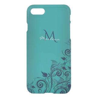 Elegant Teal Blue Green Floral Monogram iPhone 7 Case