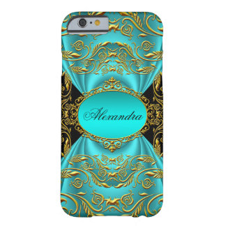 Elegant Teal Blue Green Jade Black Gold Barely There iPhone 6 Case