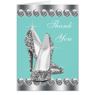 Elegant Teal Blue High Heel Shoe Thank You Cards