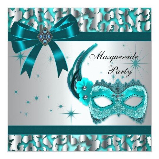 Elegant Teal Blue Leopard Masquerade Party 13 Cm X 13 Cm Square Invitation Card