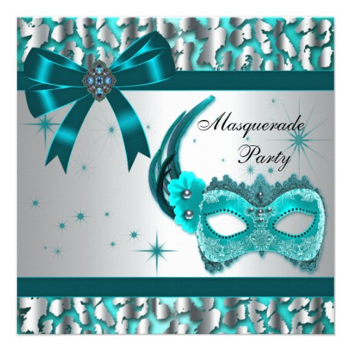 Elegant Teal Blue Leopard Masquerade Party Personalized Invites