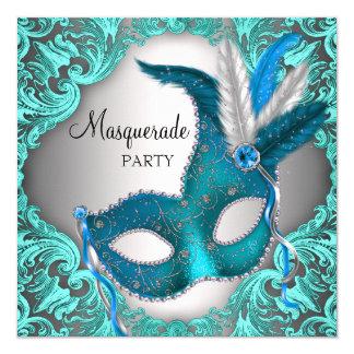 Elegant Teal Blue Masquerade Party 13 Cm X 13 Cm Square Invitation Card