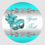 Elegant Teal Blue Masquerade Party Stickers