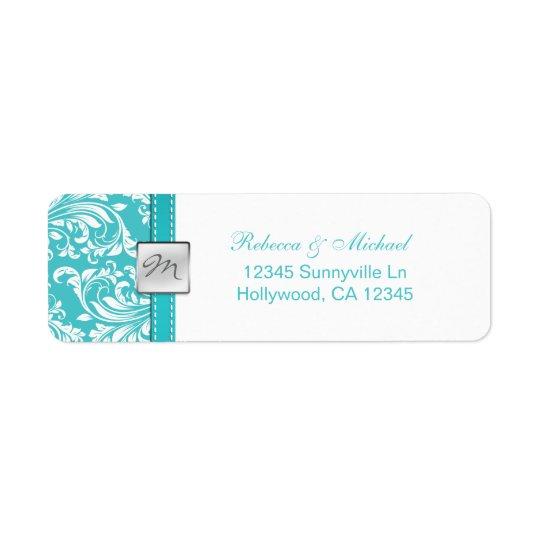 Elegant Teal Blue Monogram Address Labels