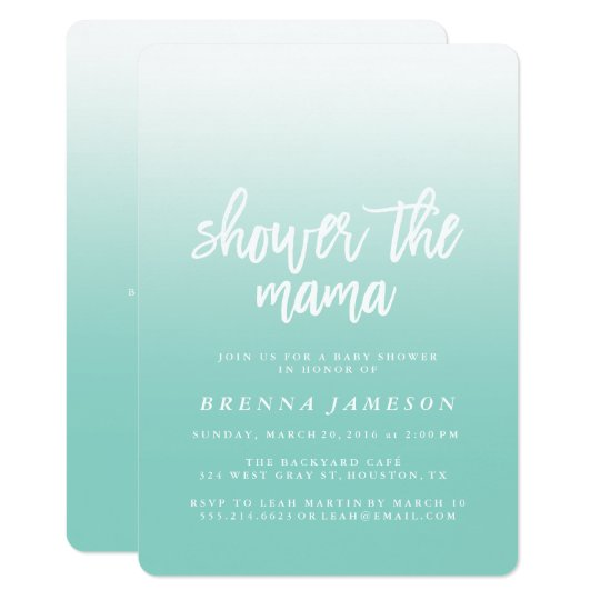 Elegant Teal Blue Ombre Baby Shower Invitation