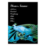 ELEGANT TEAL BLUE PEACOCK FASHION JEWEL IN BLACK PACK OF CHUBBY BUSINESS CARDS