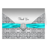 Elegant Teal Blue Silver Thank You Note Card