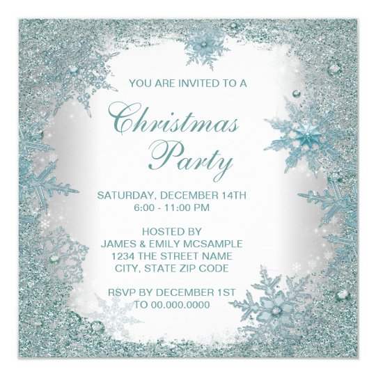 Elegant Teal Blue Snowflake Christmas Party Card