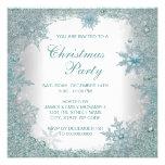 Elegant Teal Blue Snowflake Christmas Party Invitation