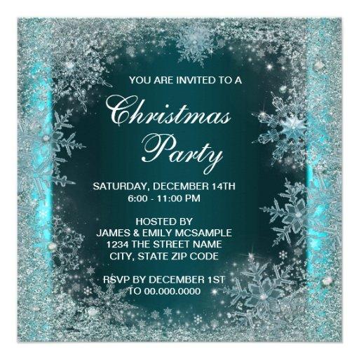 Elegant Teal Blue Snowflake Christmas Party Custom Invites