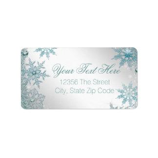 Elegant Teal Blue Snowflake Label