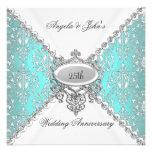 Elegant Teal Blue White 25th Wedding Anniversary Personalized Invitation