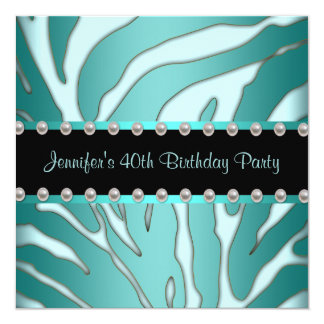 Elegant Teal Blue Zebra Womans 40th Birthday Party 13 Cm X 13 Cm Square Invitation Card