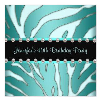 Elegant Teal Blue Zebra Womans 40th Birthday Party 13 Cm X 13 Cm Square Invitation Card
